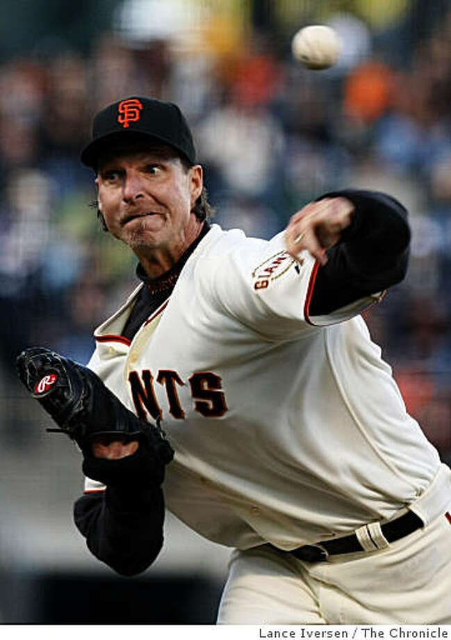 Randy Johnson the starting pitcher for the San Francisco Giants pitched against Oakland Athletics at AT&T Park in San Francisco on Saturday. Photo: Lance Iversen, The Chronicle