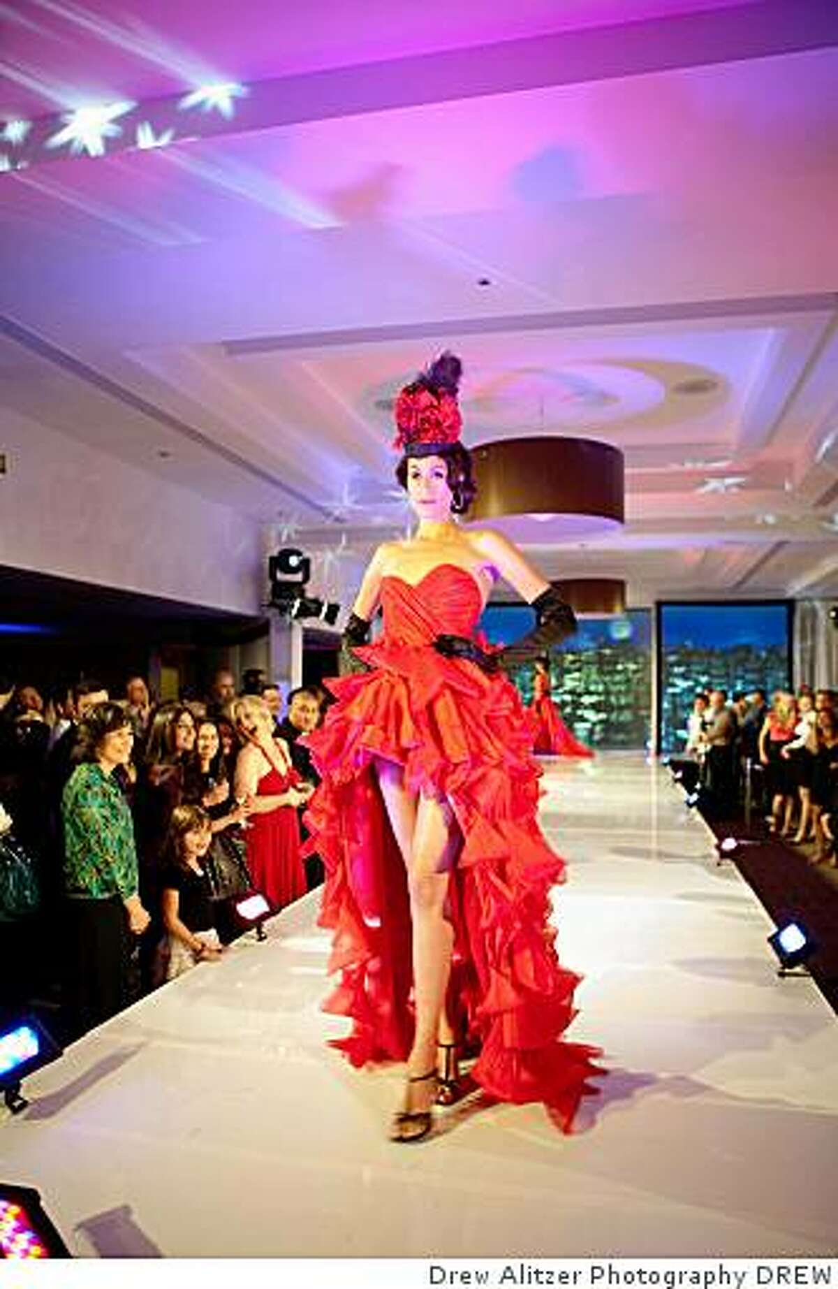 This dramatic red gown was designed by Emily Dumitrescu of Emily Jane Clothing for the Parc 55 Fashionably Loud event.