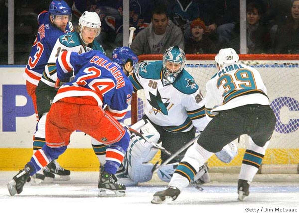 NEW YORK - FEBRUARY 17: Ryan Callahan #24 of the New York Rangers puts the puck past Evgeni Nabokov #20 of the San Jose Sharks for a first period goal on February 17, 2008 at Madison Square Garden in New York City. (Photo by Jim McIsaac/Getty Images)