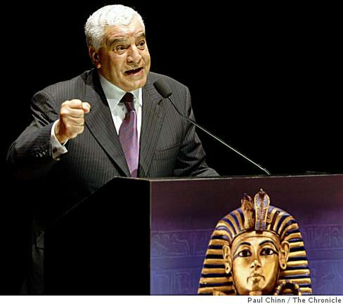 Dr. Zahi Hawass, secretary general of the Supreme Council of Antiquities in Egypt, introduces the opening of the King Tut exhibit at the de Young Museum in San Francisco, Calif., on Wednesday, June 24, 2009.