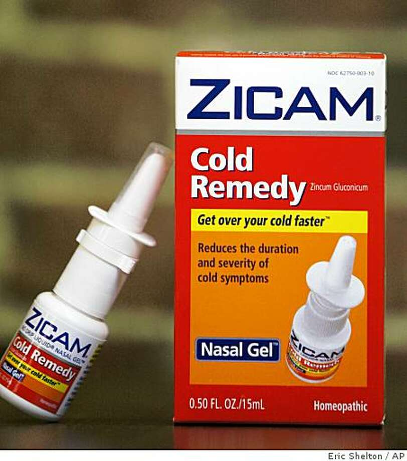 Zicam Cold Remedy nasal gel is shown in Boston Tuesday, June 16, 2009.  The Food and Drug Administration on Tuesday said consumers should stop using Zicam Cold Remedy nasal gel and related products because they can permanently damage the sense of smell. (AP Photo/Eric Shelton) Photo: Eric Shelton, AP