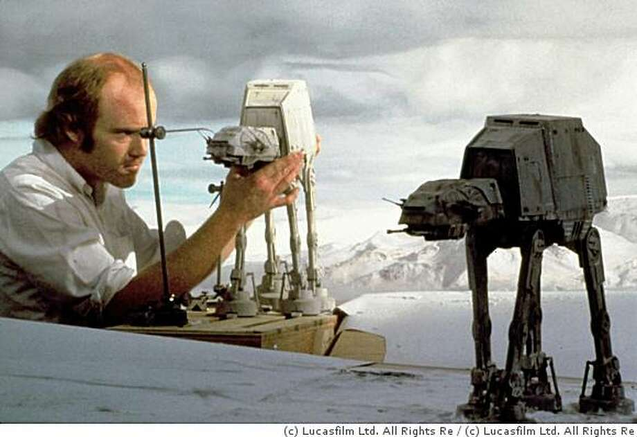 "Special-effects pioneer Phil Tippett works on animating the AT-AT snow walkers for ""Star Wars"" using stop motion.  Photo: C Lucasfilm Ltd. All Rights Re"