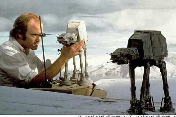 "Special-effects pioneer Phil Tippett works on animating the AT-AT snow walkers for ""Star Wars"" using stop motion.  (c) Lucasfilm Ltd. All Rights Reserved."