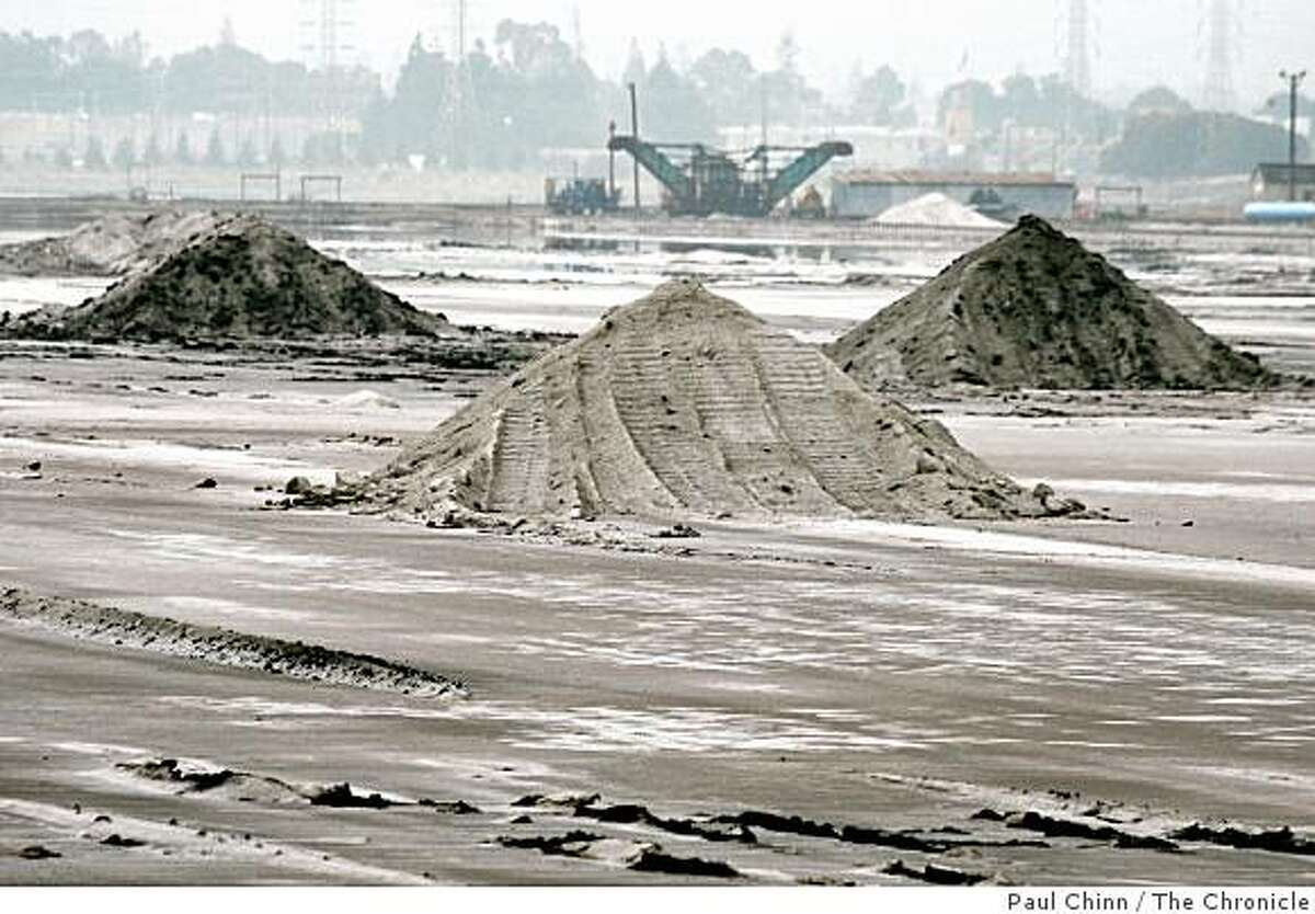 Mounds of salt are piled high at the Cargill salt evaporators in Redwood City, Calif. on Wednesday, Oct. 31, 2007. Cargill hopes to develop the 1,400 acre site which is angering environmentalists saying it should be restored to original wetlands open space.