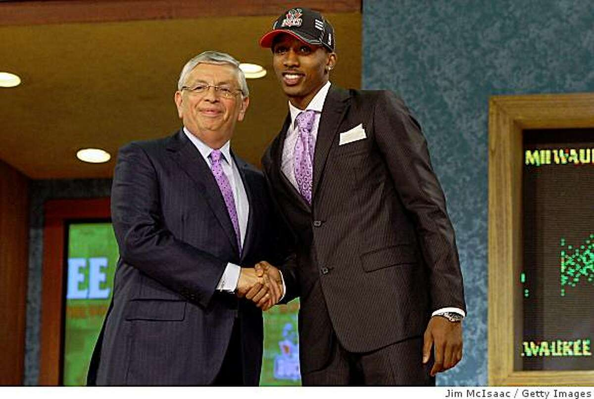 NEW YORK - JUNE 25: NBA Commissioner David Stern poses for a photograph with the tenth overall draft pick by the Milwaukee Bucks, Brandon Jennings during the 2009 NBA Draft at the Wamu Theatre at Madison Square Garden June 25, 2009 in New York City. NOTE TO USER: User expressly acknowledges and agrees that, by downloading and/or using this Photograph, User is consenting to the terms and conditions of the Getty Images License Agreement. (Photo by Jim McIsaac/Getty Images)