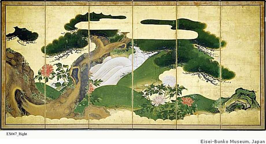 """""""Old Pine Tree and Peonies"""" right half of six-fold screen, ink, colors and gold foil on paper attributed to Yano Saburobei Yoshishige (1596-1653) Photo: Unknown, Eisei-Bunko Museum, Japan"""
