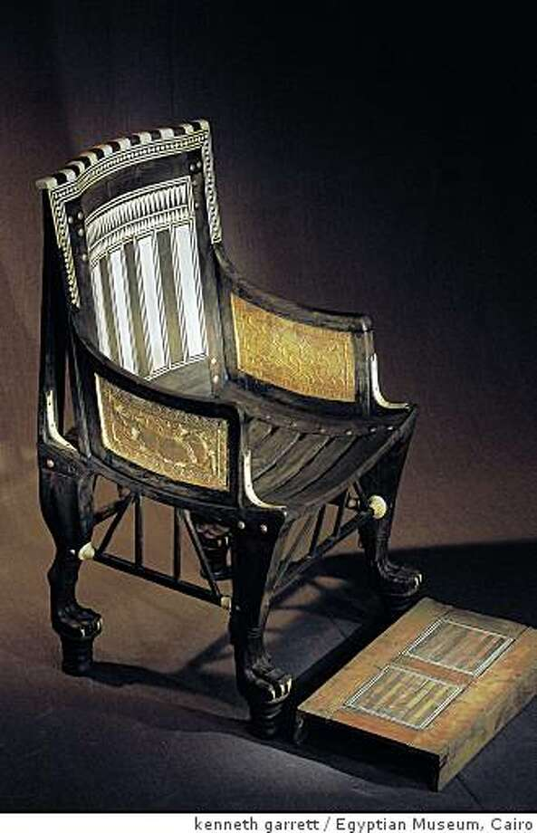 Child's Chair and Footrest (Dynasty 18, reign of Tutankhamun, 1332-1322 B.C.) ebony, ivory & wood Photo: Kenneth Garrett, Egyptian Museum, Cairo