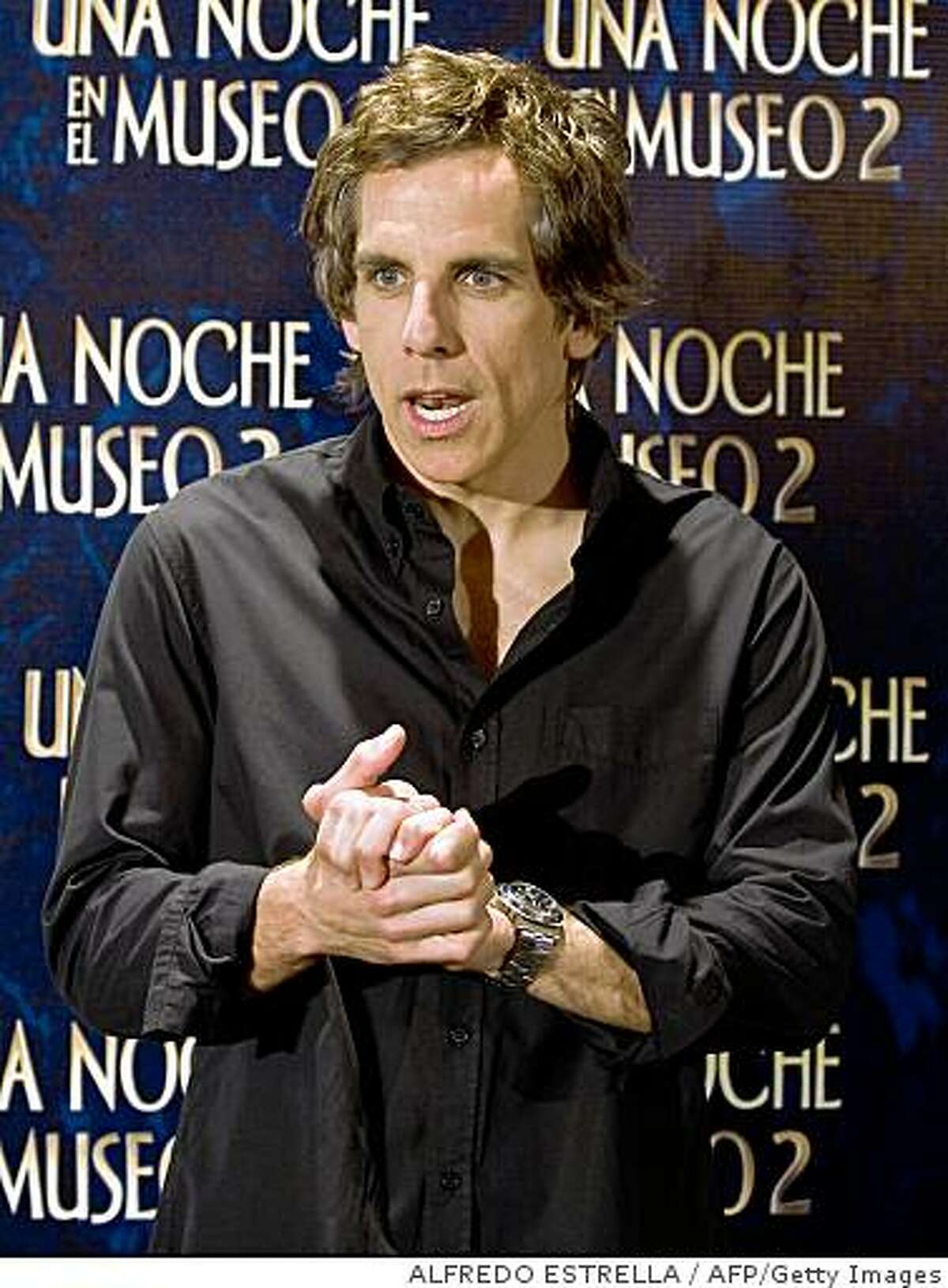 US actor Ben Stiller gestures during a press conference to promote the premiere of