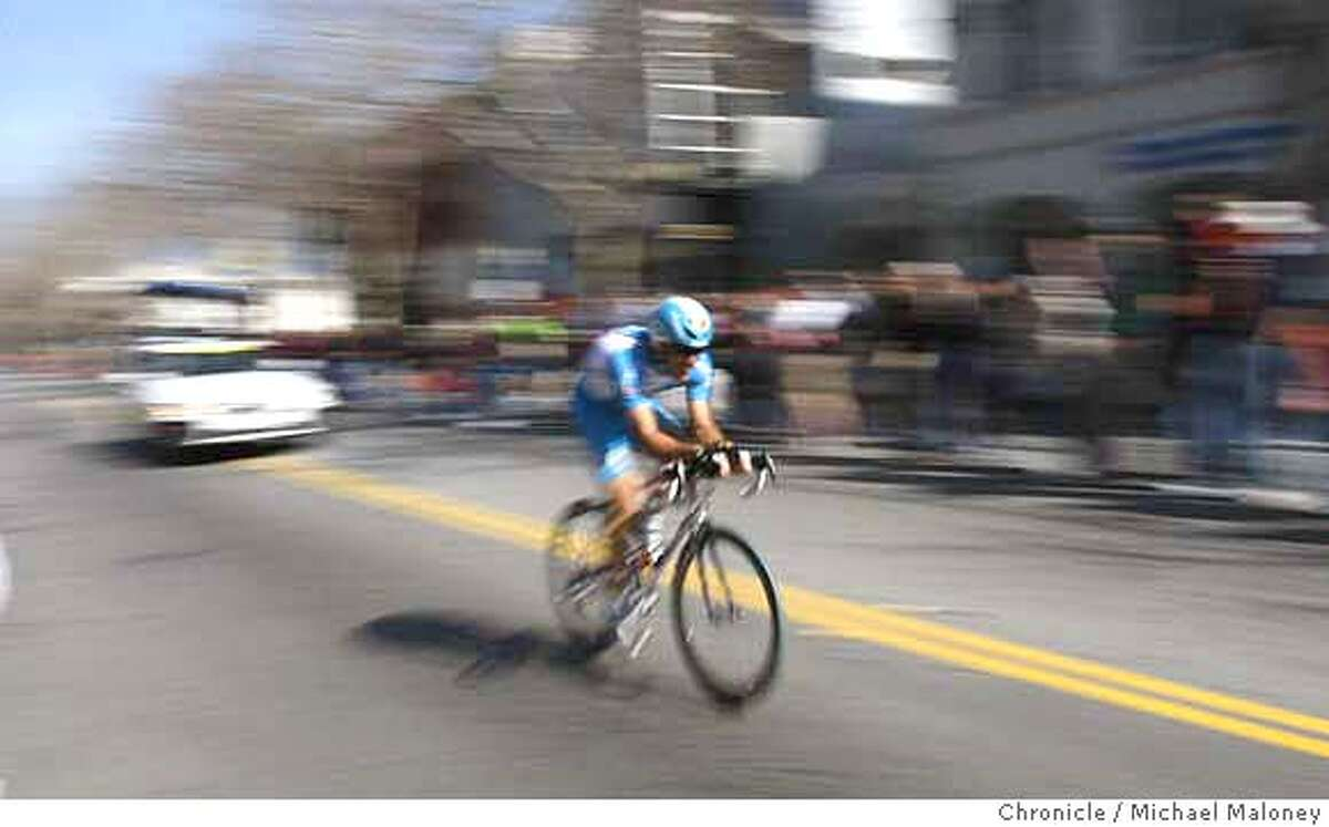 Laurent Lefevre of the Bouygues Telecom team speeds down University Avenue in downtown Palo Alto. The week long Amgen Tour of California bike race started today, February 17, 2008 with the Palo Alto Prologue, a 2.1 mile time trial from downtown Palo Alto, CA to the Stanford campus. Photo by Michael Maloney / The Chronicle MANDATORY CREDIT FOR PHOTOG AND SAN FRANCISCO CHRONICLE/NO SALES-MAGS OUT