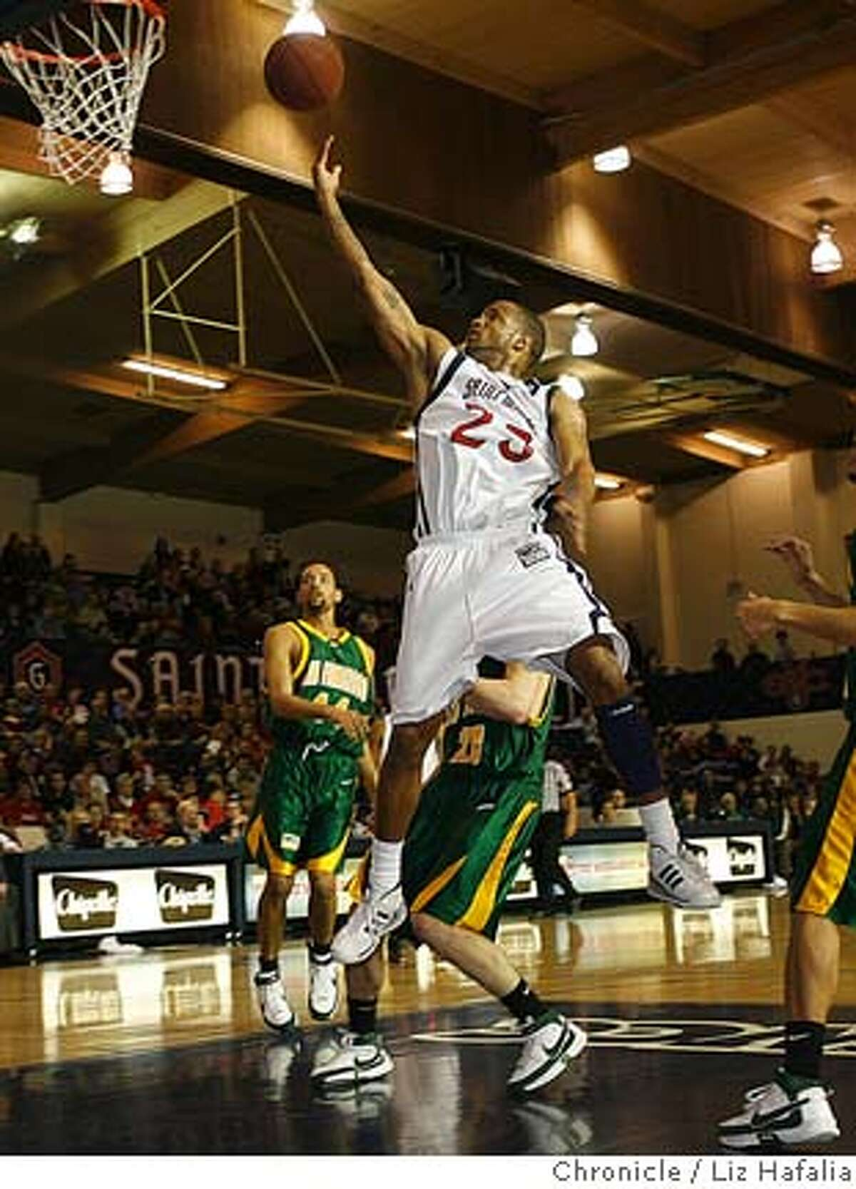 St. Mary's hosts USF at McKeon Pavilion. Saint Mary's Gaels' guard Tron Smith scores during the second half. Ran on: 02-09-2008 St. Marys Diamon Simpson drives against USF in the win that put the Gaels at the 20-win mark.