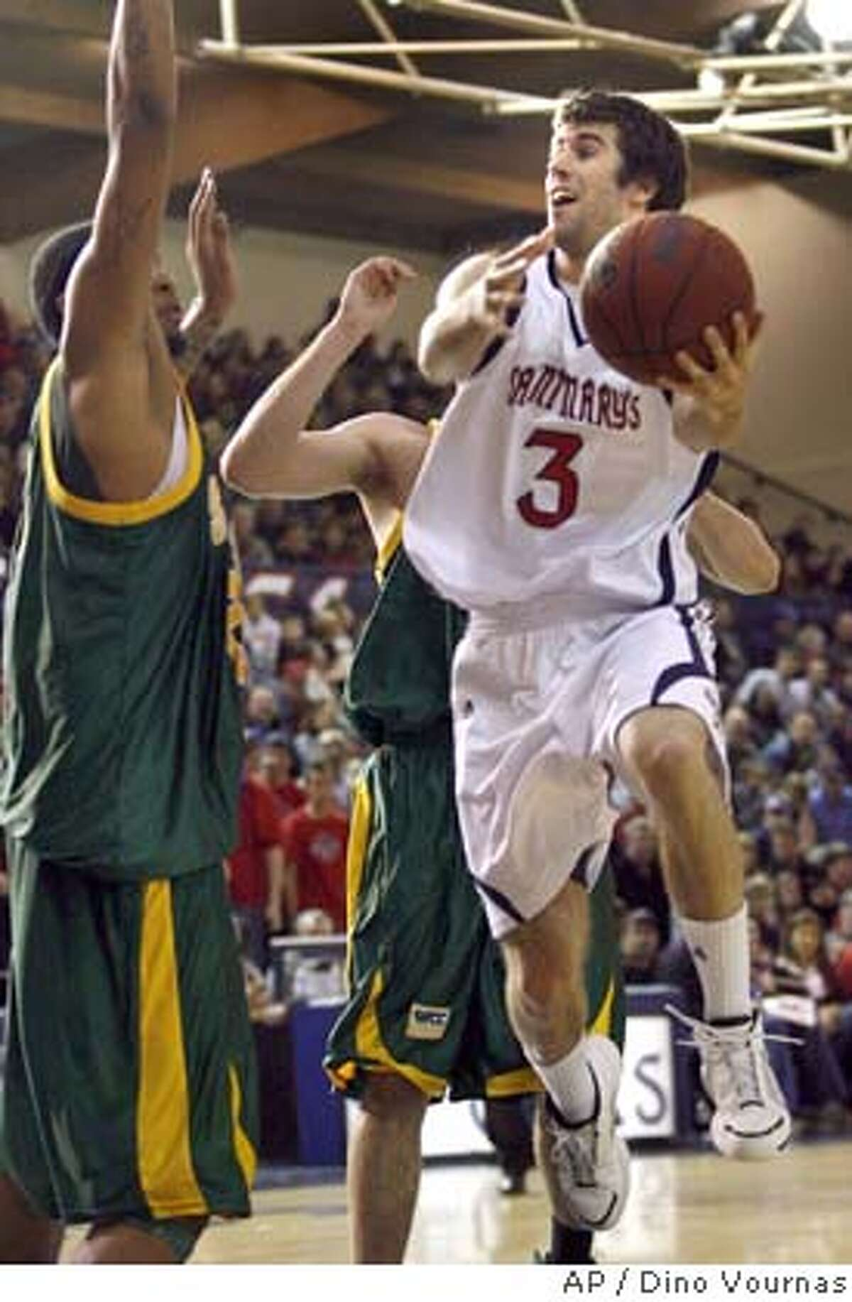 Saint Mary's Carlin Hughes (3) of Australia, goes in for a layup attempt against San Francisco's James Morgan, left, in the first half of an NCAA basketball game, Friday, Fri. 8, 2008 in Moraga, Calif. (AP Photo/Dino Vournas) EFE OUT