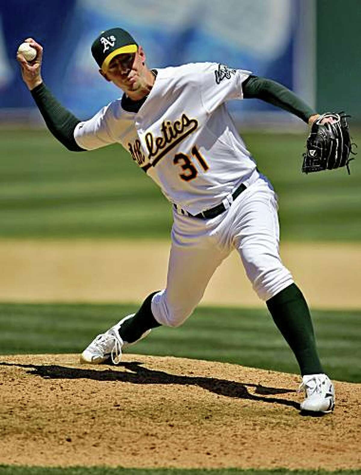Brad Ziegler pitches in the end of the game for the Athletics. The Oakland Athletics played the Minnesota Twins at the Oakland-Alameda County Coliseum in Oakland, Calif., on Thursday, June 11, 2009, in their final game of the series. The Athletics won the game 4-3.