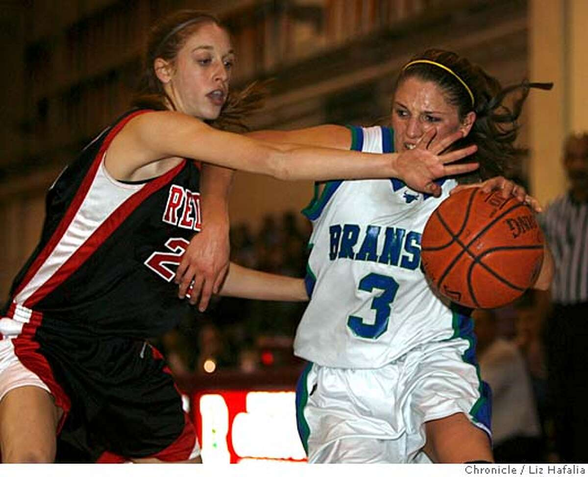 Branson vs. Redwood--High school basketball, girls Marin County Athletic League playoff. Branson's #3 Lauren Polansky drives through Redwood's #23 Tobyn Celler during the second half of the game. Photo by Liz Hafalia/San Francisco Chronicle Ran on: 02-16-2008 Bransons Lauren Polansky (3), who gave Redwood trouble all night, tries to get by Redwoods Tobyn Celler. Ran on: 02-16-2008 Bransons Lauren Polansky (3), who gave Redwood trouble all night, tries to get by Redwoods Tobyn Celler.