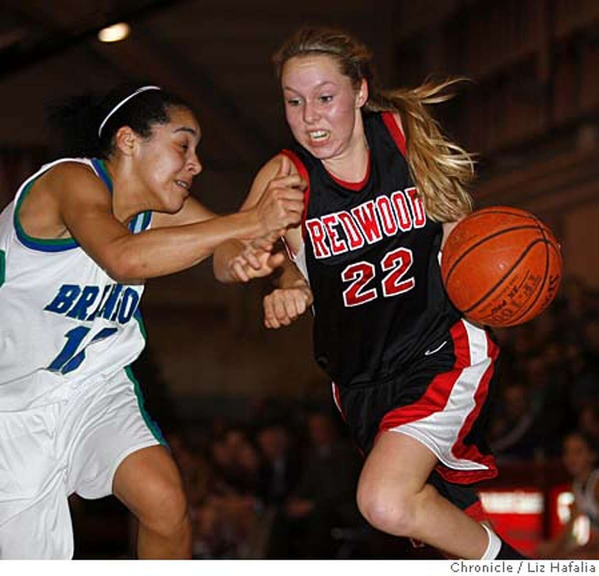 Branson vs. Redwood--High school basketball, girls Marin County Athletic League playoff. Branson's #10 Lia Coito tries blocking Redwood's #22 Emily Livingston in the first half. Photo by Liz Hafalia/San Francisco Chronicle Ran on: 02-16-2008 Bransons Lauren Polansky (3), who gave Redwood trouble all night, tries to get by Redwoods Tobyn Celler. Ran on: 02-16-2008 Bransons Lauren Polansky (3), who gave Redwood trouble all night, tries to get by Redwoods Tobyn Celler.