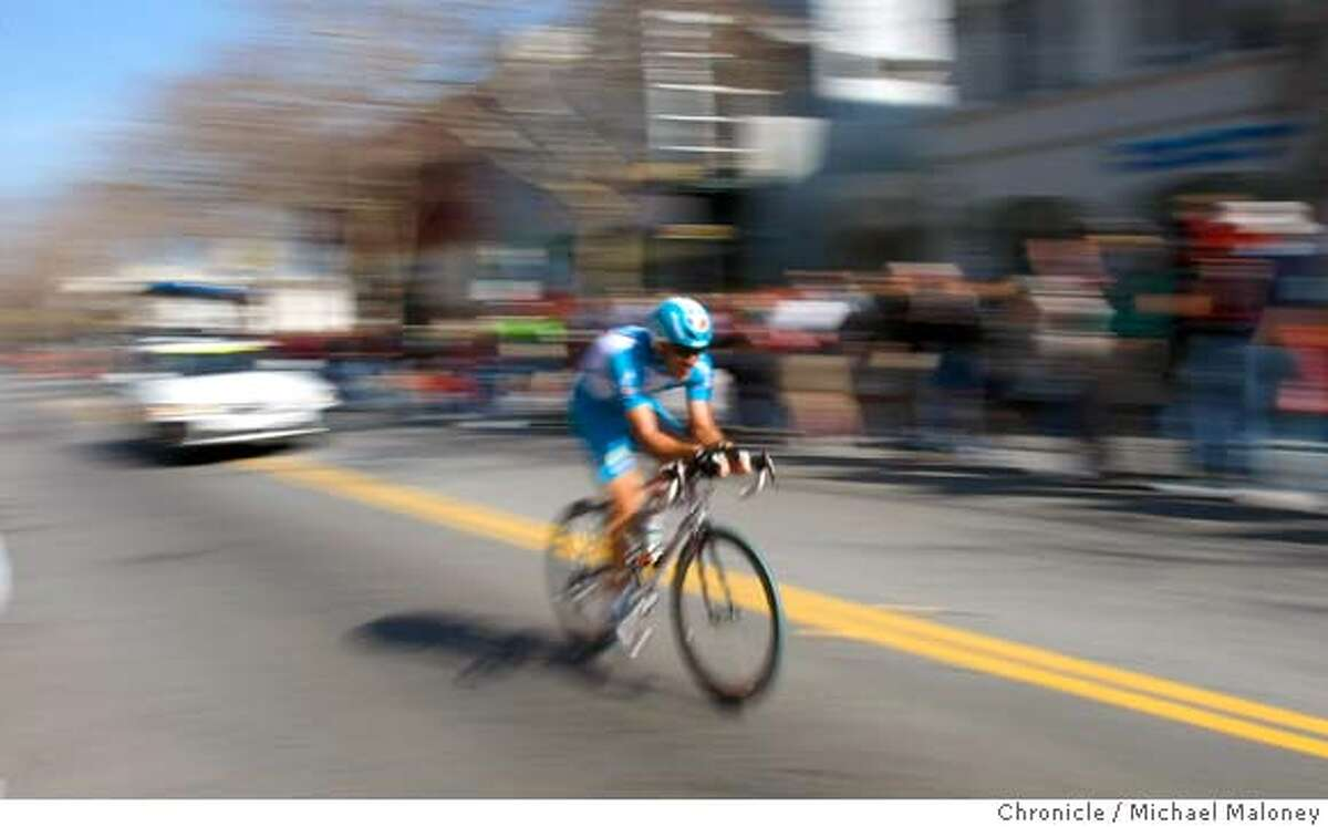 Laurent Lefevre of the Bouygues Telecom team speeds down University Avenue in downtown Palo Alto. The week long Amgen Tour of California bike race started today, February 17, 2008 with the Palo Alto Prologue, a 2.1 mile time trial from downtown Palo Alto, CA to the Stanford campus. Photo by Michael Maloney / The Chronicle