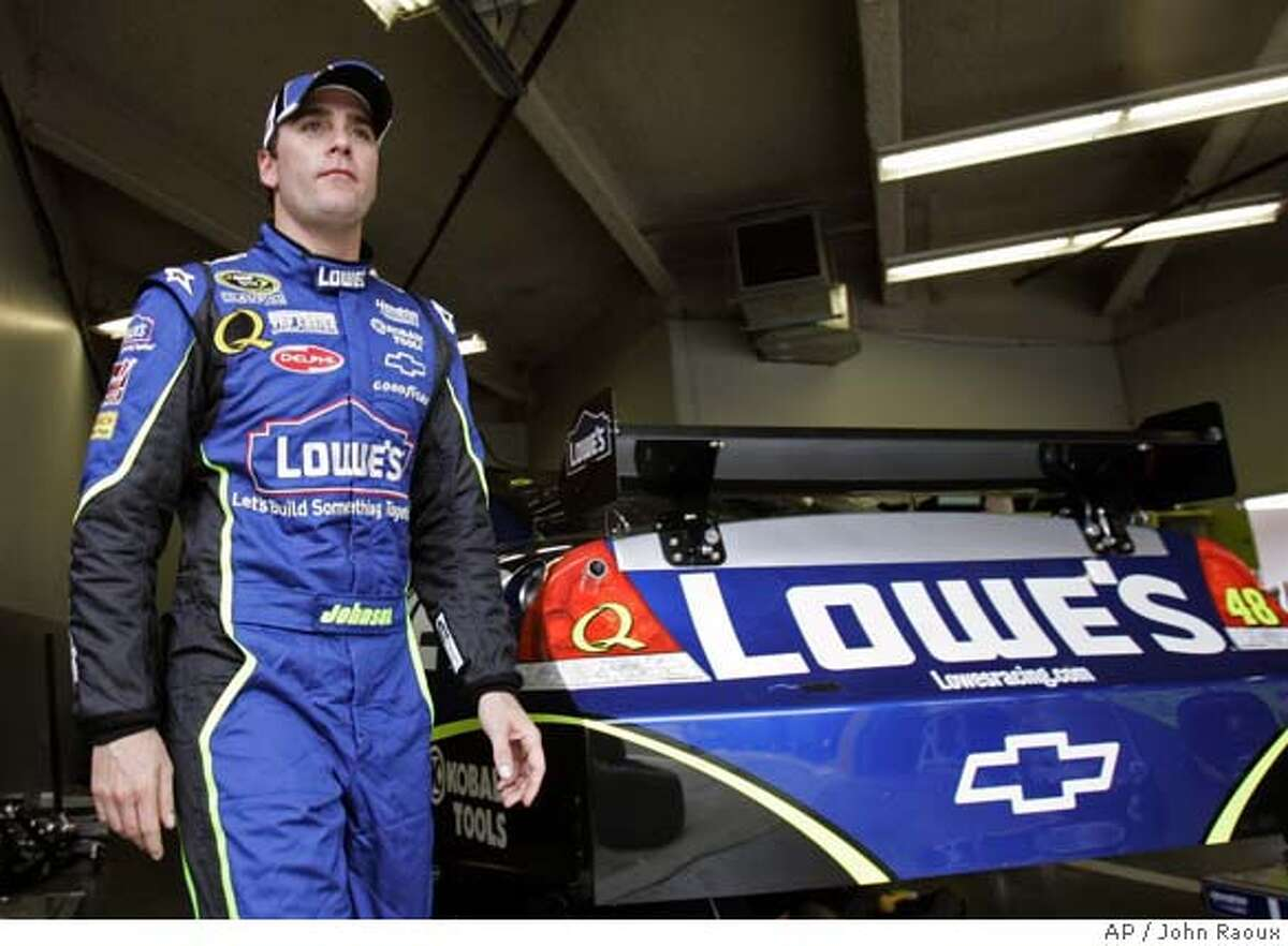 NASCAR driver Jimmie Johnson leaves his garage after the first practice session for the Daytona 500 auto race at Daytona International Speedway in Daytona Beach, Fla., Wednesday, Feb. 13, 2008. Johnson will start the Daytona 500 at the pole position. (AP Photo/John Raoux) EFE OUT