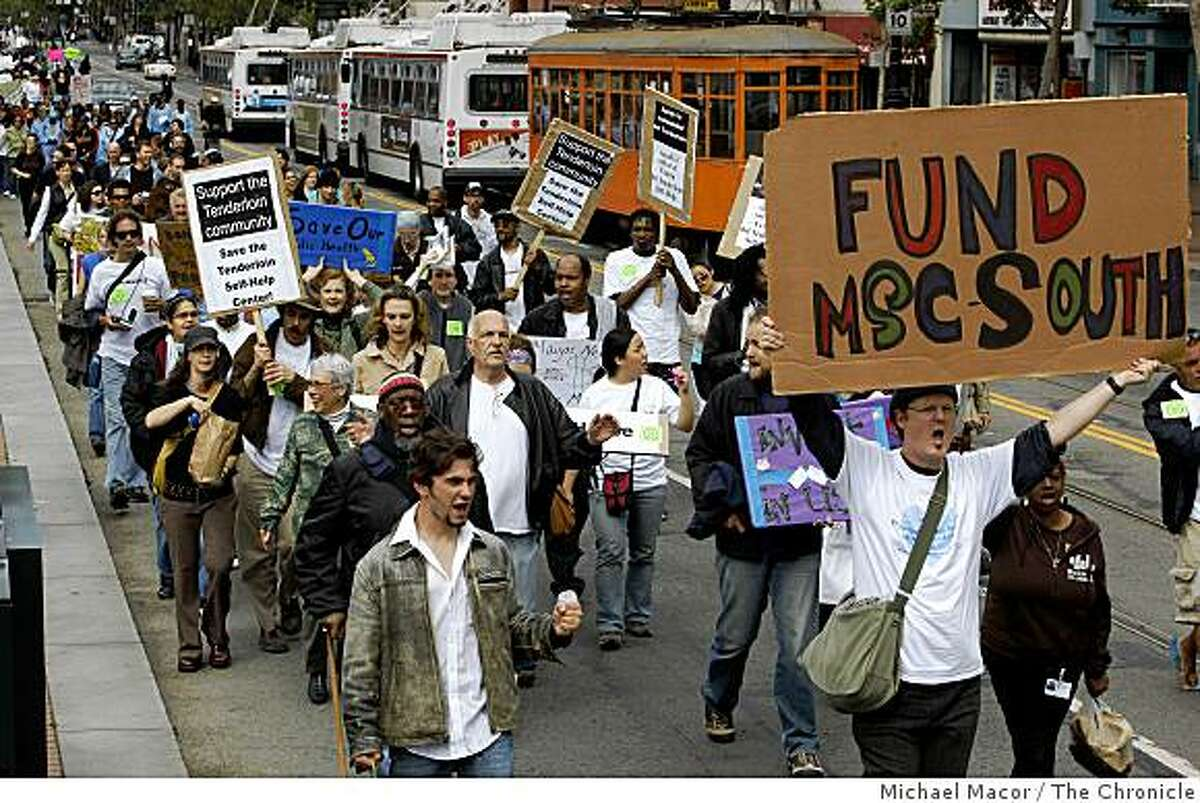 Some 500 protestors marched up Market Street to City Hall in San Francsico, Calif on Wednesday June 10, 2009, to show their displeasure with the Mayor's budget that calls for cuts to many programs for the poor and homeless of the City.