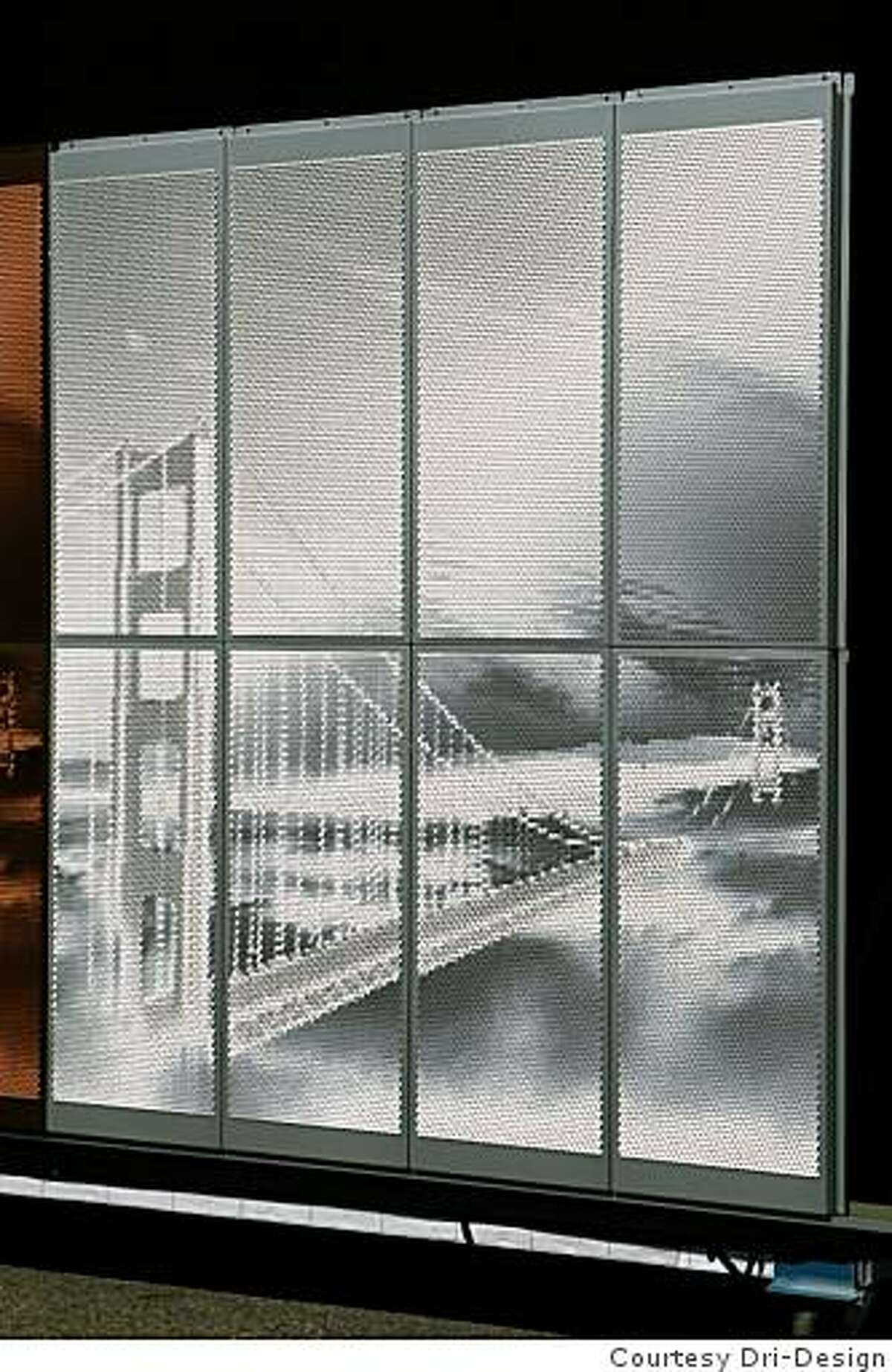 Several anodized aluminum Ombrae panels shown during the AIA convention in San Francisco by Holland, Michigan-based Dri-Design using a process conceived by artist Roderick Quin who lives in Vancouver, B. C.. Computerized tools are used to push out dots punched out of sheet metal to create highlights and shadows that form a photographic image of the Golden Gate Bridge when viewed at a distance. The dots are the equivalent of a pixel ona a computer screen. The metal panels acan be used for decorative building facades and interior walls and partitions.