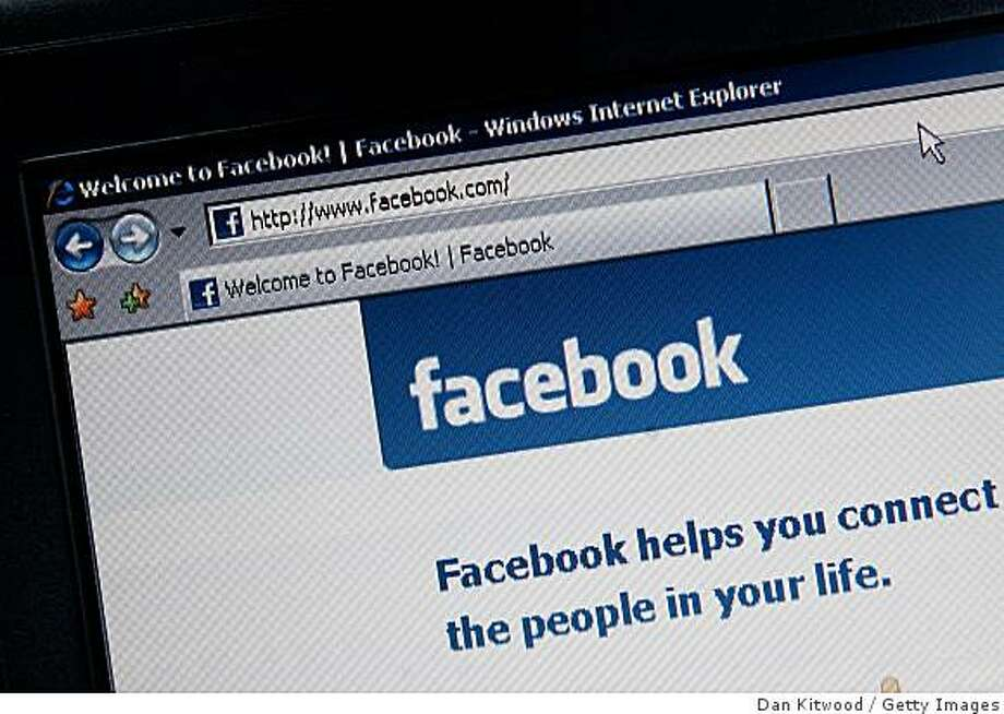 ARCH 25:  In this photo illustration the Social networking site Facebook is displayed on a laptop screen on March 25, 2009 in London, England. The British government has made proposals which would force Social networking websites such as Facebook to pass on details of users, friends and contacts to help fight terrorism. Photo: Dan Kitwood, Getty Images