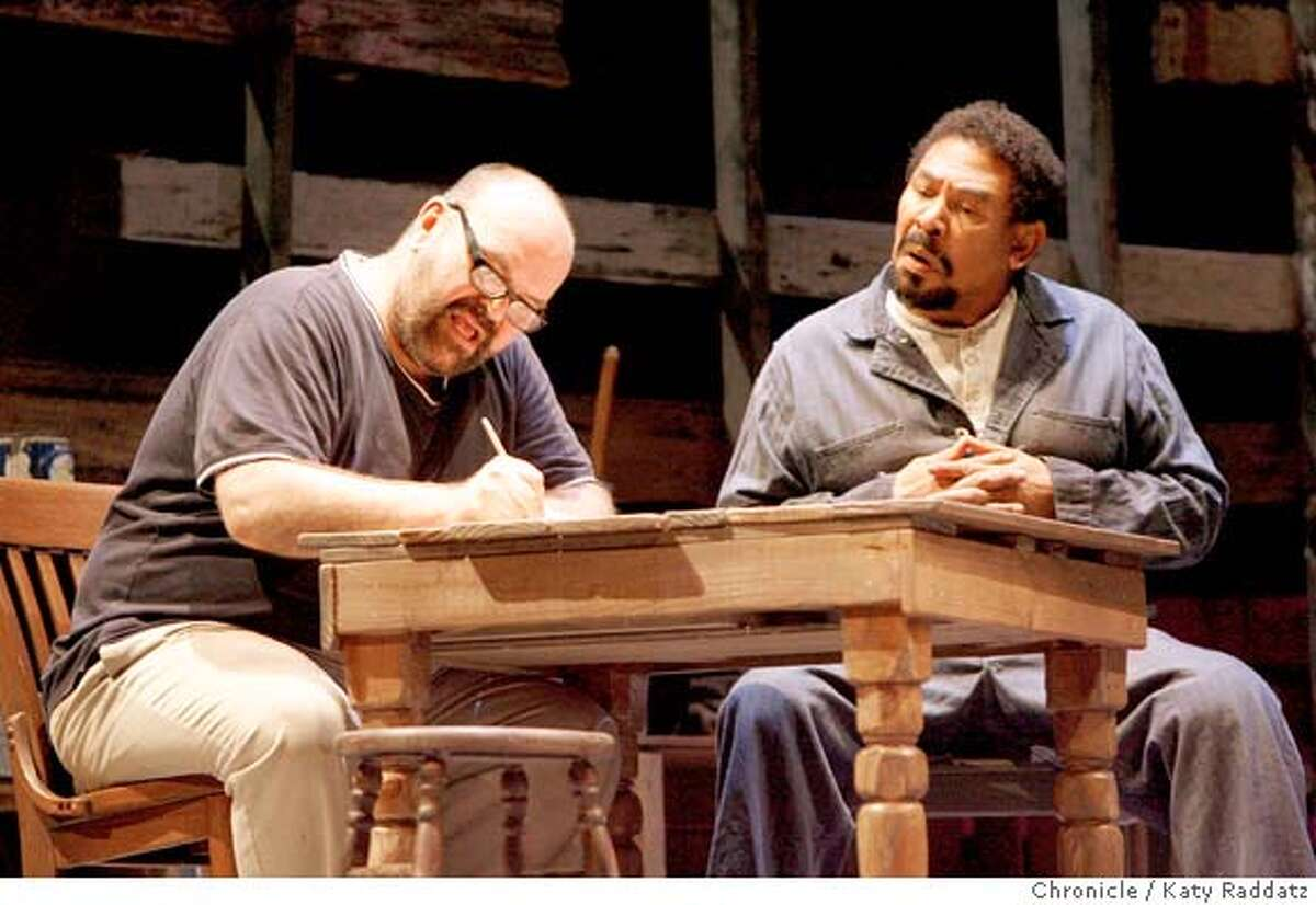 KNOT15 Jack Willis, left, and Steven Anthony Jones, right , as two half brothers, one of whom can pass for white, applying for a pen pal, in the ACT production of Athol Fugard's