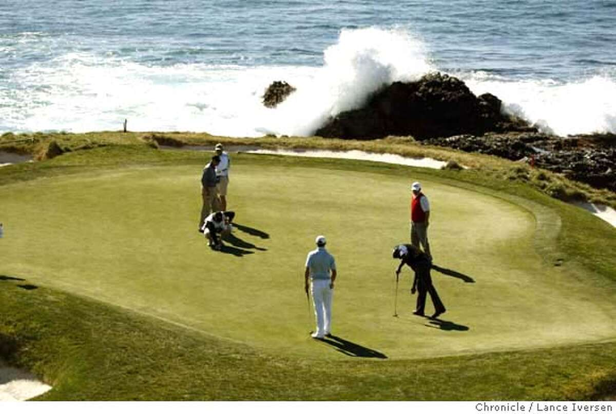 Vijay Singh, foursome Dudley Hart, Dustin Johnson and amateur Jeremy Jacobs play the 7th hole at Pebble Beach Sunday. By Lance Iversen/The Chronicle MANDATORY CREDIT PHOTOG AND SAN FRANCISCO CHRONICLE/NO SALES MAGS OUT