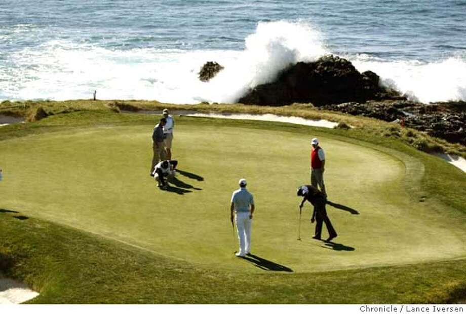 Vijay Singh, foursome Dudley Hart, Dustin Johnson and amateur Jeremy Jacobs play the 7th hole at Pebble Beach Sunday. By Lance Iversen/The Chronicle MANDATORY CREDIT PHOTOG AND SAN FRANCISCO CHRONICLE/NO SALES MAGS OUT Photo: Lance Iversen