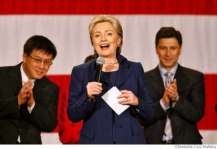 Hillary Clinton attends fundraiser at the Orpheum Theater. �2007, San Francisco Chronicle/ Liz Hafalia  MANDATORY CREDIT FOR PHOTOG AND SAN FRANCISCO CHRONICLE. NO SALES- MAGS OUT. Photo: Liz Hafalia