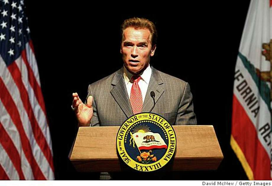 LOS ANGELES, CA - JUNE 12:  California Gov. Arnold Schwarzenegger speaks on the status of the state budget at the California Center for the Arts on June 12, 2009 in Escondido, California. The California treasury is in danger of running out of money by late July as the state budget crisis continues to grow with an estimated $24-billion shortfall. California is estimated to be the eighth largest economy in the world.  (Photo by David McNew/Getty Images) Photo: David McNew, Getty Images