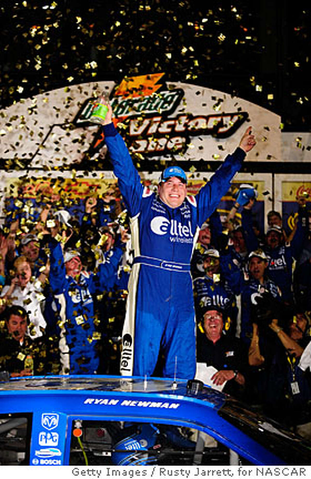 DAYTONA BEACH, FL - FEBRUARY 17: Ryan Newman, driver of the #12 Alltel Dodge, celebrates in victory lane after winning the 50th NASCAR Sprint Cup Series Daytona 500 at Daytona International Speedway on February 17, 2008 in Daytona Beach, Florida. (Photo by Rusty Jarrett/Getty Images for NASCAR)