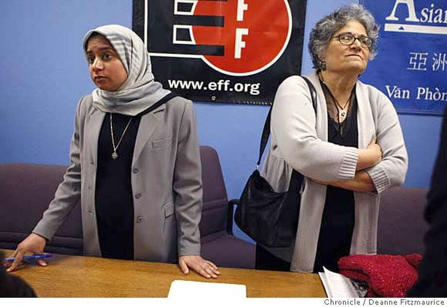 searches_078_df.jpg  Shirin Sinnar, left, an attorney with the Asian Law Caucus is representing Nabila Mango who has been harrassed at the airport. Civil Rights groups sue U.S. Department of Homeland Security for intrusive questioning and searches for U.S. travelers. Photographed in San Francisco on 2/7/08. Deanne Fitzmaurice / The Chronicle Mandatory credit for photographer and San Francisco Chronicle. No Sales/Magazines out. Photo: Deanne Fitzmaurice