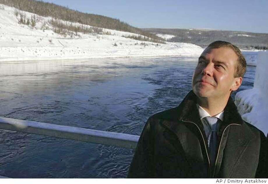 **ADVANCE FOR SUNDAY, FEB. 17--FILE** Russian First Deputy Premier and presidential hopeful Dmitry Medvedev visits Svetlinskaya hydroelectric power plant on the Vilyui River in Russian Siberian region of Yakutia in this Feb. 6, 2008 file photo. (AP Photo/RIA Novosti, Dmitry Astakhov, Presidential Press Service, file) ADVANCE FOR SUNDAY, FEB. 17; FEB. 6, 2008 FILE PHOTO Photo: DMITRY ASTAKHOV