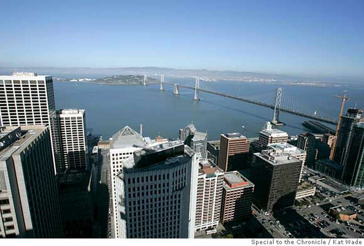 An eastern view of the Bay Bridge fron the penthouse that an anonymous man has agreed to pay $10 million dollars for at the luxury Millennium Tower on Mission Street now under construction on Friday, February 15, 2008 in San Francisco, Calif. Ran on: 02-16-2008 An anonymous buyer has paid $11 million for the unfinished penthouse at the Millennium Tower.