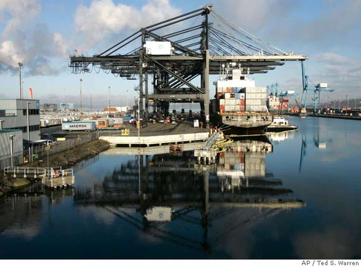 A container ship is unloaded at the Port of Tacoma Wednesday, Feb. 13, 2008, in Tacoma, Wash. Despite a soaring foreign oil bill and another record deficit with China, the overall U.S. trade deficit declined in 2007 after setting records for five consecutive years. (AP Photo/Ted S. Warren)