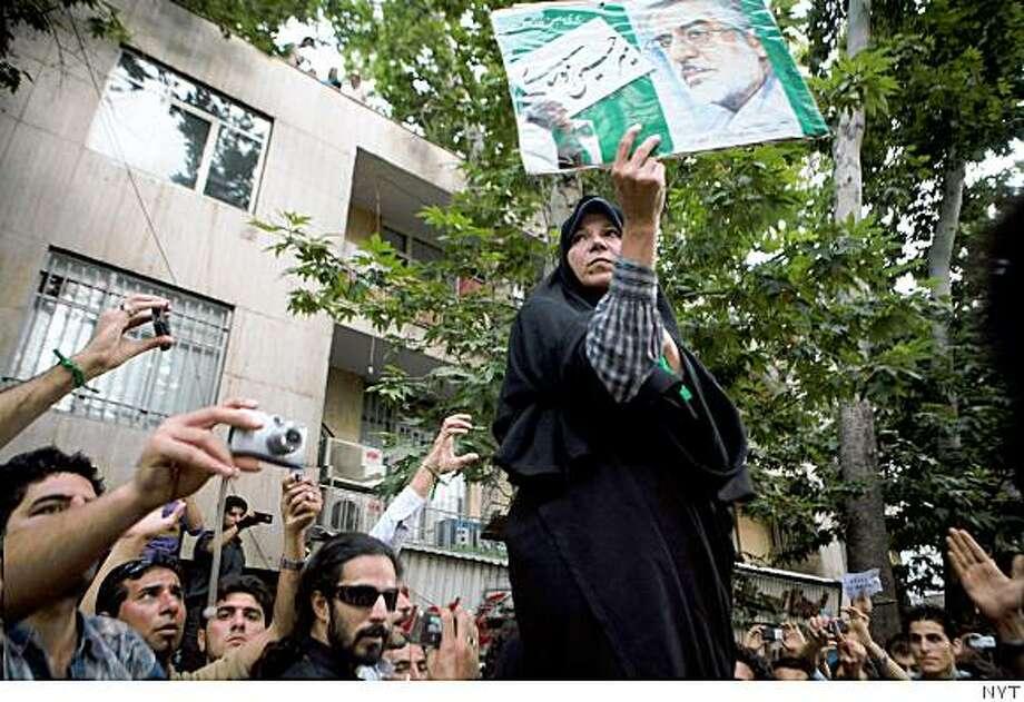 Faezeh Hashemi Rafsanjani, daughter of former Iranian president Ali Akbar Hashemi Rafsanjani, at an opposition rally in Tehran, Iran on Wednesday, June 17, 2009. Photo: NYT