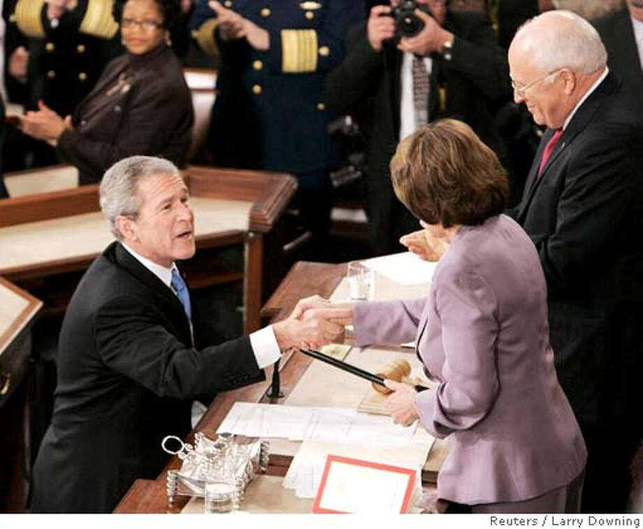 U.S. President George W. Bush (L) shakes hands with House Speaker Nancy Pelosi (D-CA) (2nd R) as he arrives to deliver the final State of the Union address of his presidency in Washington January 28, 2008. Also pictured is Vice President Dick Cheney (R). REUTERS/Larry Downing (UNITED STATES) Photo: LARRY DOWNING