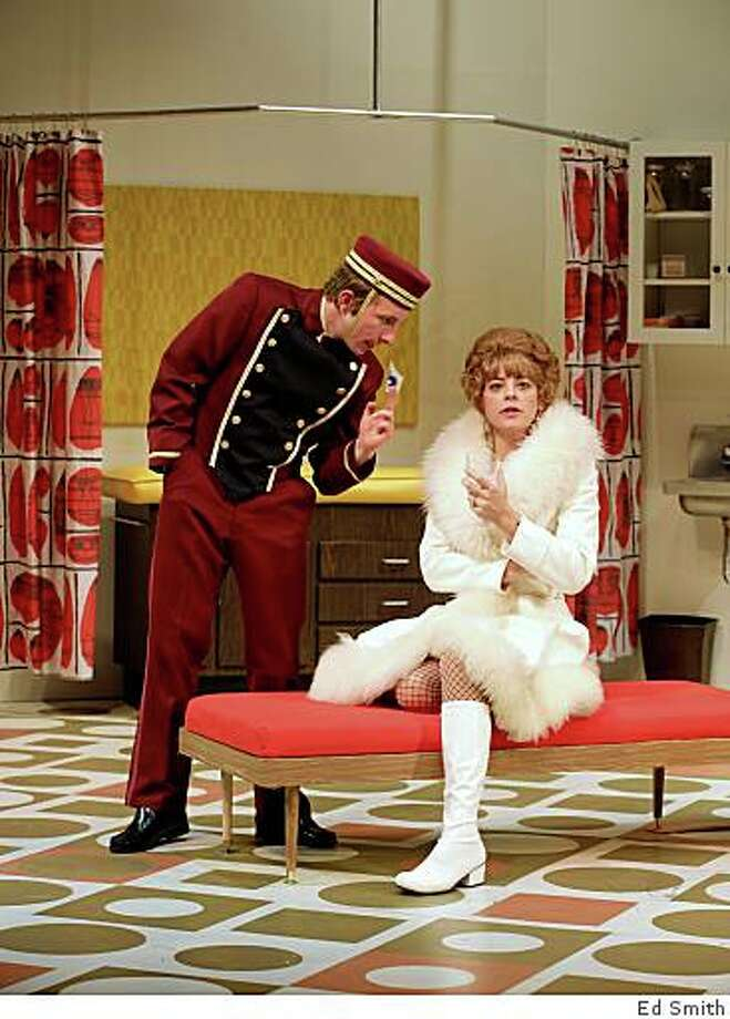 "Rowan Brooks (left) as the bellboy and Stacy Ross as Mrs. Prentice, a philandering doctor's not so innocent wife, in Joe Orton's ""What the Butler Saw""at Marin Theatre Company Photo: Ed Smith"