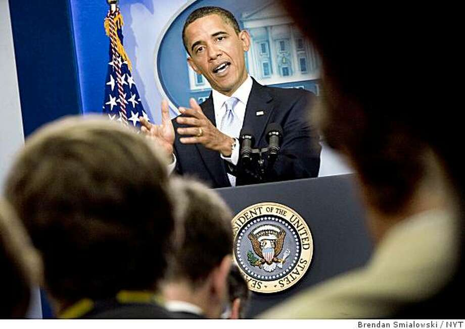 "President Barack Obama held the first afternoon press conference of his presidency on Tuesday, June 24, 2009, at the White House in Washington. Obama harshly condemned the Iranian crackdown against demonstrations on Tuesday, declaring the rest of the world ""appalled and outraged"" and dismissing what he called ""patently false and absurd"" accusations that the U.S.  instigated the protests. (Brendan Smialowski/The New York Times) Photo: Brendan Smialowski, NYT"