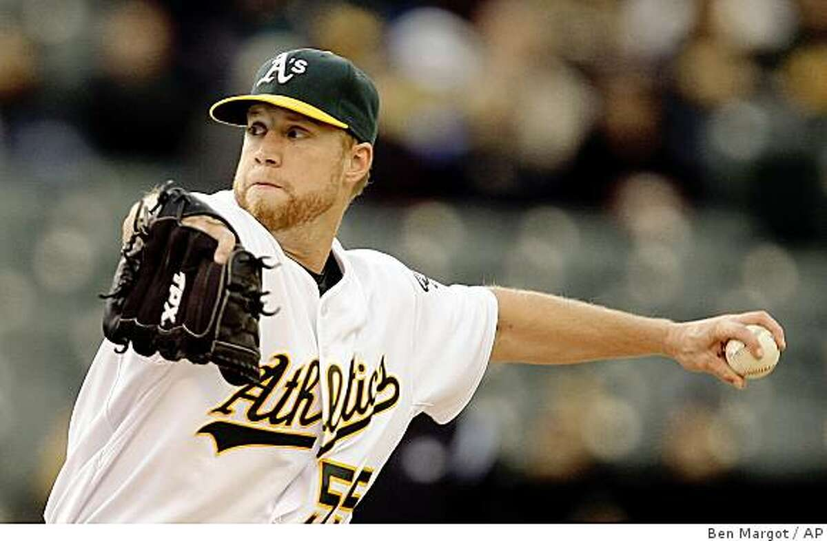 Oakland Athletics' Josh Outman works against the Minnesota Twins in the first inning of a baseball game in Oakland, Calif., Monday, June 8, 2009. (AP Photo/Ben Margot)