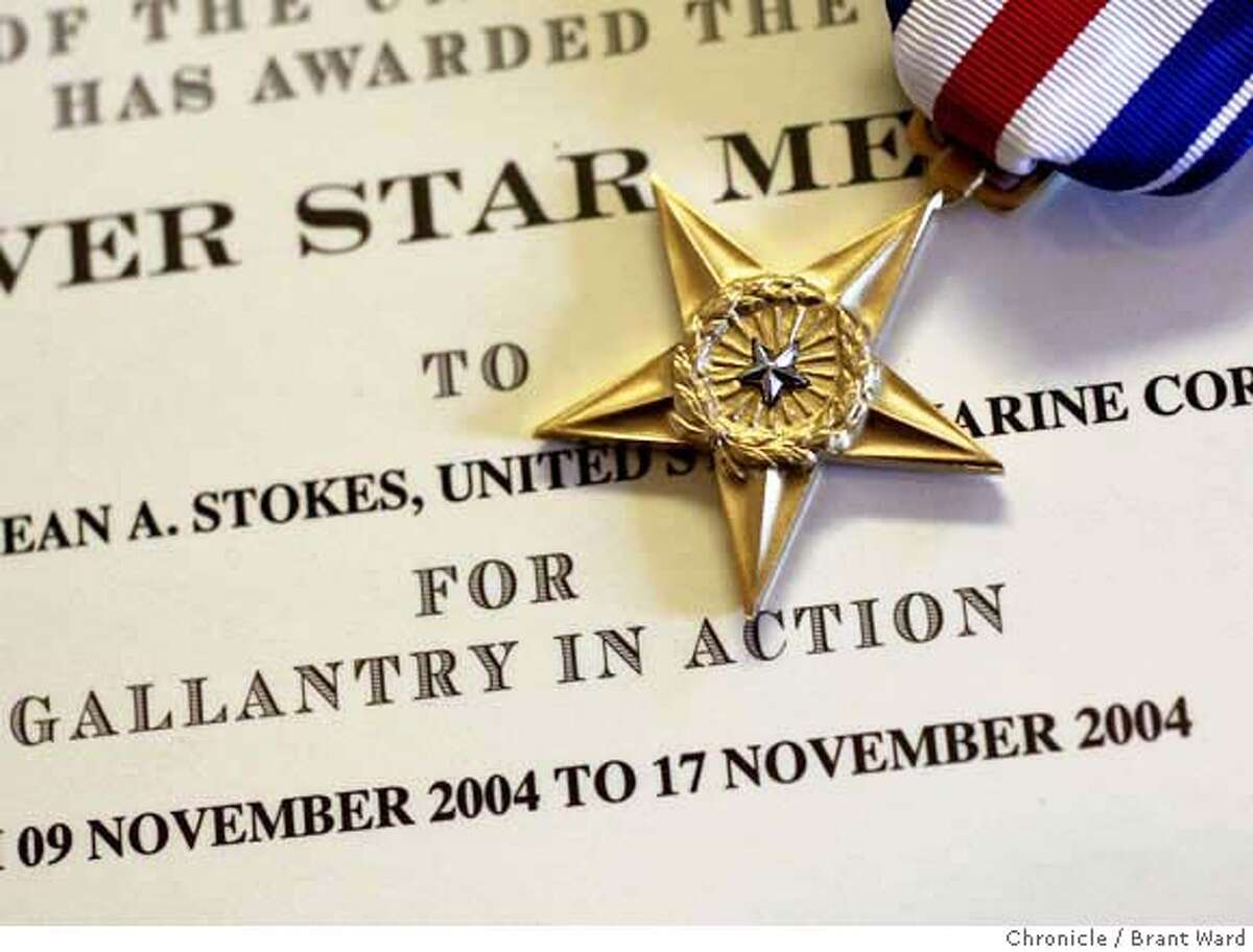 The medal Sean Stokes received now sits in the family home in Auburn, CA. Sean Stokes was given a silver star medal for bravery in combat at a recent awards ceremony. He was killed on his third tour of Iraq. (Photo by Brant Ward/San Francisco Chronicle)