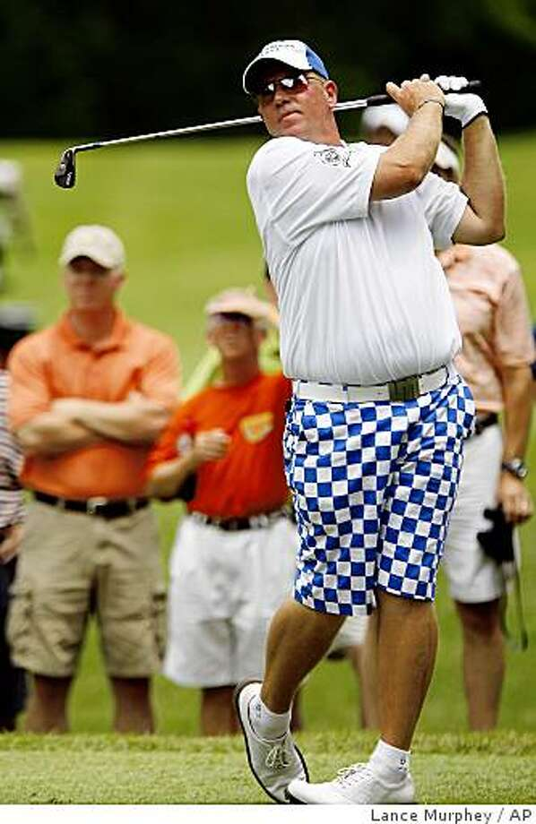 John Daly tees off during a qualifying round in Germantown, Tenn., for the U.S. Open on Monday, June 8, 2009.  (AP Photo/Lance Murphey) Photo: Lance Murphey, AP