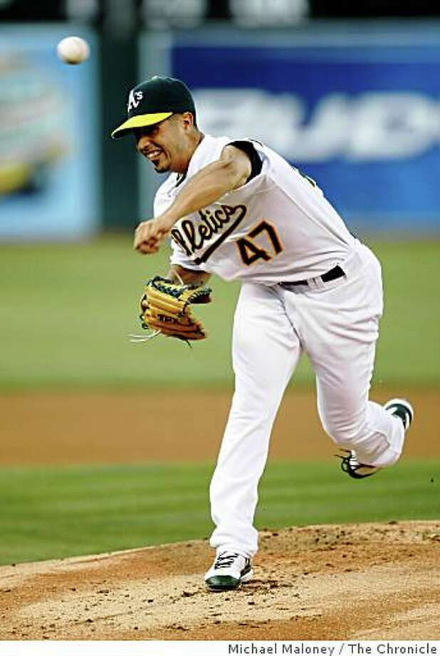 Oakland Athletics starting pitcher Gio Gonzalez pitches in the 1st inning. The Oakland Athletics host the Tampa Bay Rays in a Major League Baseball game at McAfee Coliseum in Oakland, Calif., on August 12, 2008. Photo: Michael Maloney, The Chronicle