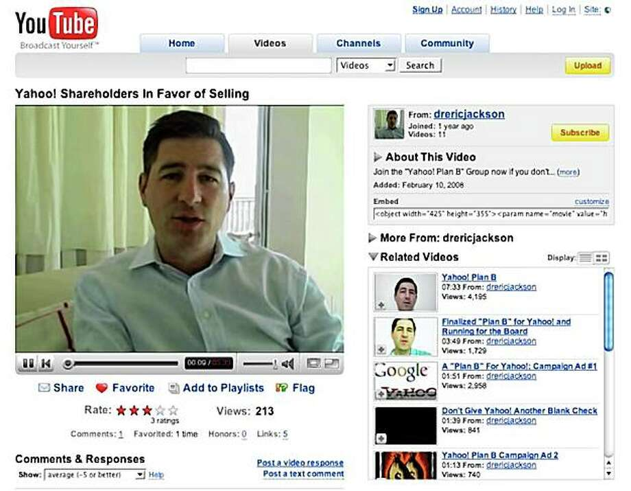 From his bedroom in Naples, Fla., Yahoo! shareholder Eric Jackson calls for his fellow investors to join him to push Yahoo! to sell to Microsoft. This screengrab shows one of the YouTube videos that Jackson has posted online.  YouTube.com Photo: YouTube.com, SFC