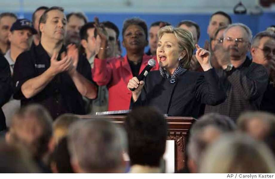 Democratic presidential hopeful, Sen. Hillary Rodham Clinton, D-N.Y., speaks during a campaign stop at the General Motors Assembly Plant in Lordstown, Ohio, Thursday, Feb. 14, 2008. (AP Photo/Carolyn Kaster) Photo: Carolyn Kaster
