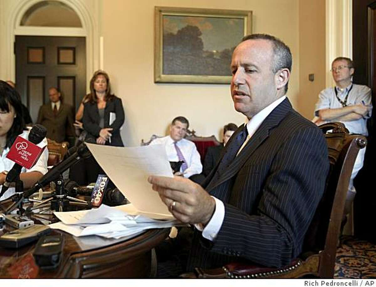State Senate President Pro Tem Darrell Steinberg, D-Sacramento, looks over notes as he discusses the state budget during a briefing at the Capitol in Sacramento, Calif., Tuesday, June 23, 2009. The state Senate is expected to take a vote on a revised budget plan, Wednesday, in an effort to solve the state's $24.3 billion budget defict. (AP Photo/Rich Pedroncelli)