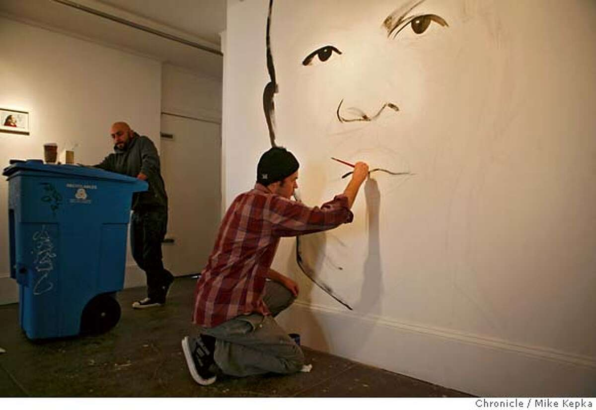 Ian Johnson paints a giant likeness of Ornett Coleman at White Walls Gallery on Larking Street in San Francisco. Mike Kepka / The Chronicle MANDATORY CREDIT FOR PHOTOG AND SAN FRANCISCO CHRONICLE/NO SALES-MAGS OUT