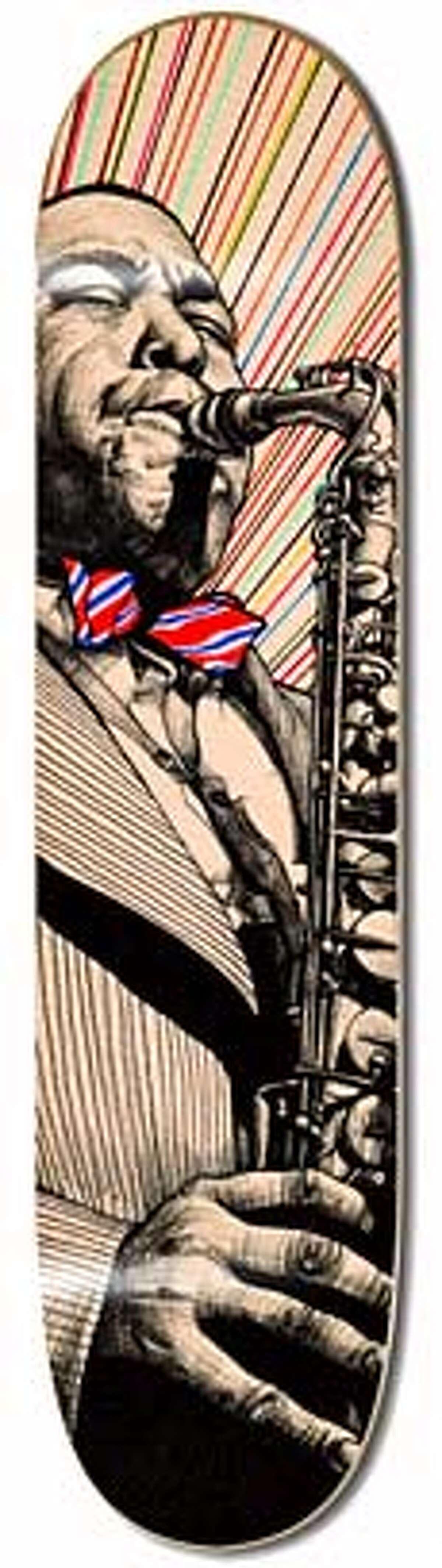 jazz inspired skateboard art by ian johnson