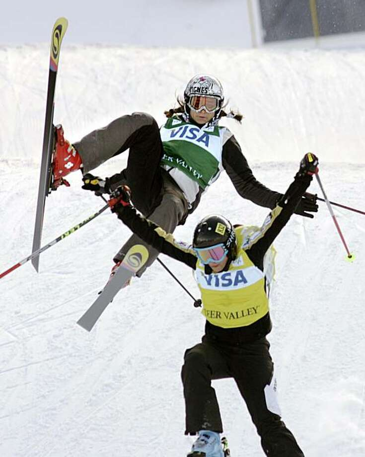 France's Meryl Boulangeat loses control before crashing behind Slovenia's Sasa Faric in the women's World Cup freestyle ski cross competition Saturday, Feb. 2, 2008, at Deer Valley Resort in Park City, Utah. Boulangeat did not finish. Faric finished in second place. Photo: Douglas C. Pizac, AP