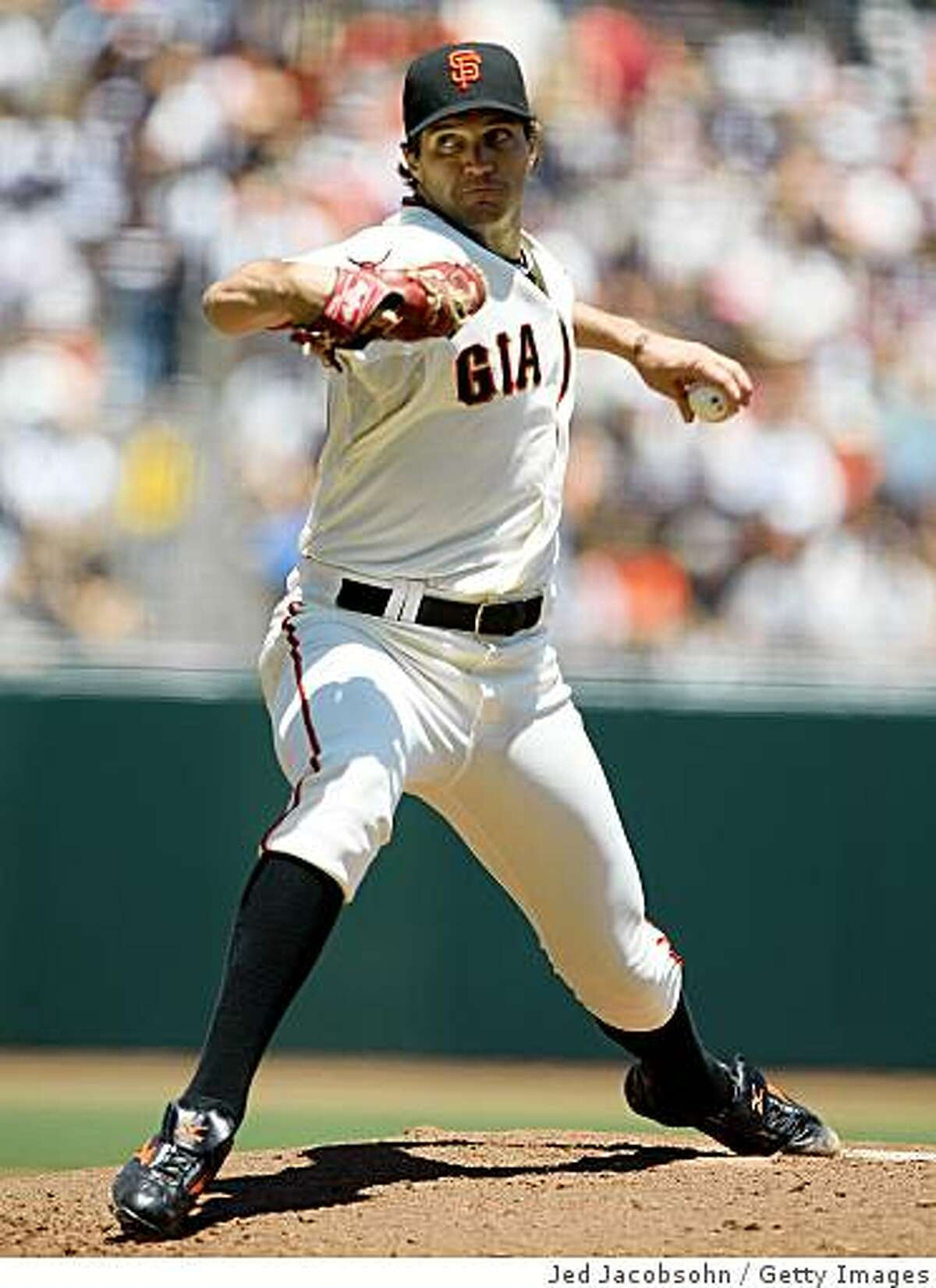 SAN FRANCISCO - JUNE 21: Barry Zito #75 of the San Francisco Giants pitches against the Texas Rangers during a Major League Baseball game on June 21, 2009 at AT&T Park in San Francisco, California. (Photo by Jed Jacobsohn/Getty Images)