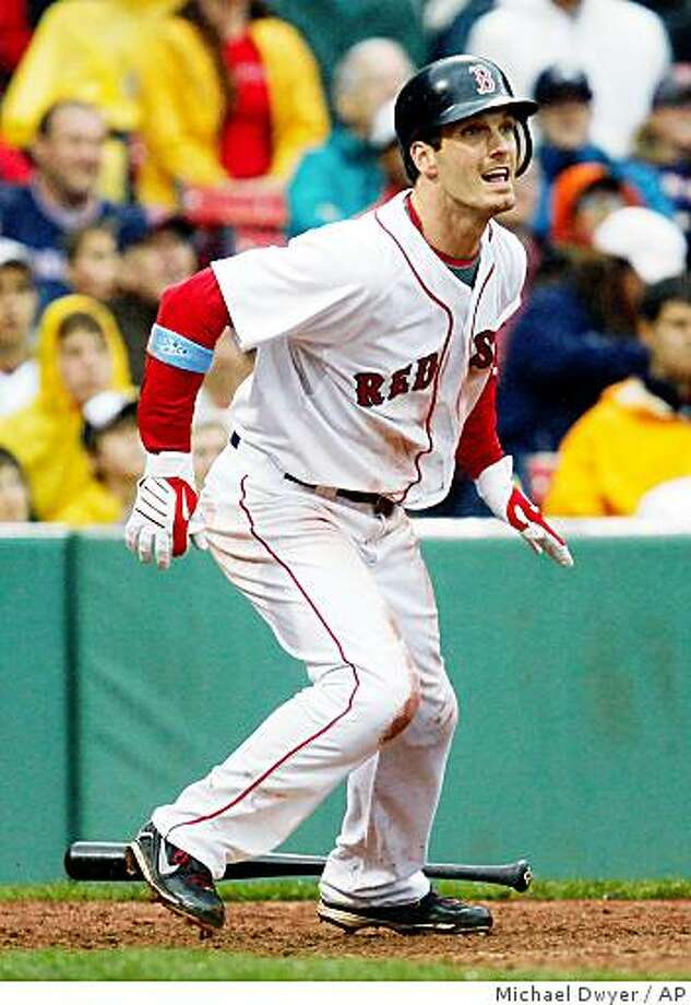 Boston Red Sox's Nick Green watches his walk-off home run in the ninth inning of a baseball game against the Atlanta Braves, Sunday, June 21, 2009, in Boston. The Red Sox won 6-5. (AP Photo/Michael Dwyer) Photo: Michael Dwyer, AP