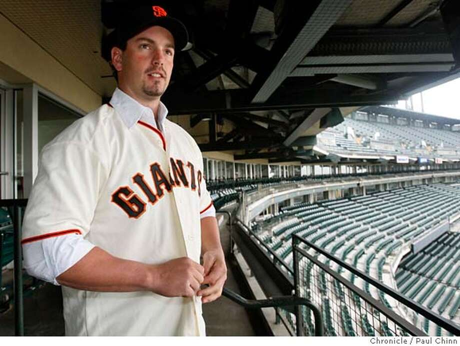 Giants center fielder Aaron Rowand got his first look at AT&T Park in between interviews with beat writers in San Francisco, Calif. on Wednesday, Jan. 9, 2008. Rowand, who signed a five-year deal as a free agent, played the last two seasons for Philadelphia Phillies.  PAUL CHINN/The Chronicle  **Aaron Rowand MANDATORY CREDIT FOR PHOTOGRAPHER AND S.F. CHRONICLE/NO SALES - MAGS OUT Photo: PAUL CHINN